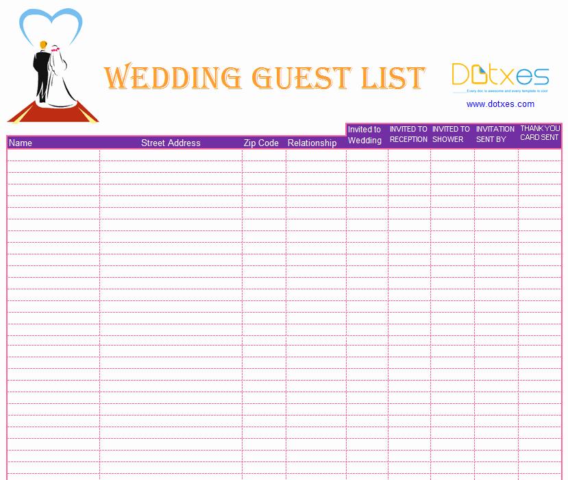 Wedding Guest List Spreadsheet Template Inspirational Blank Wedding Guest List Template Dotxes