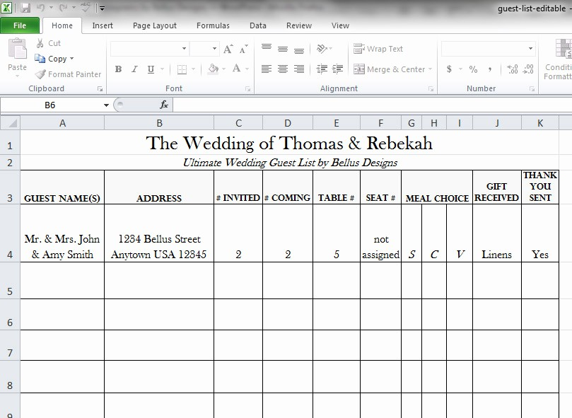 Wedding Guest List Spreadsheet Template Lovely Free Downloadable Wedding Guest & Rsvp List Bellus Designs