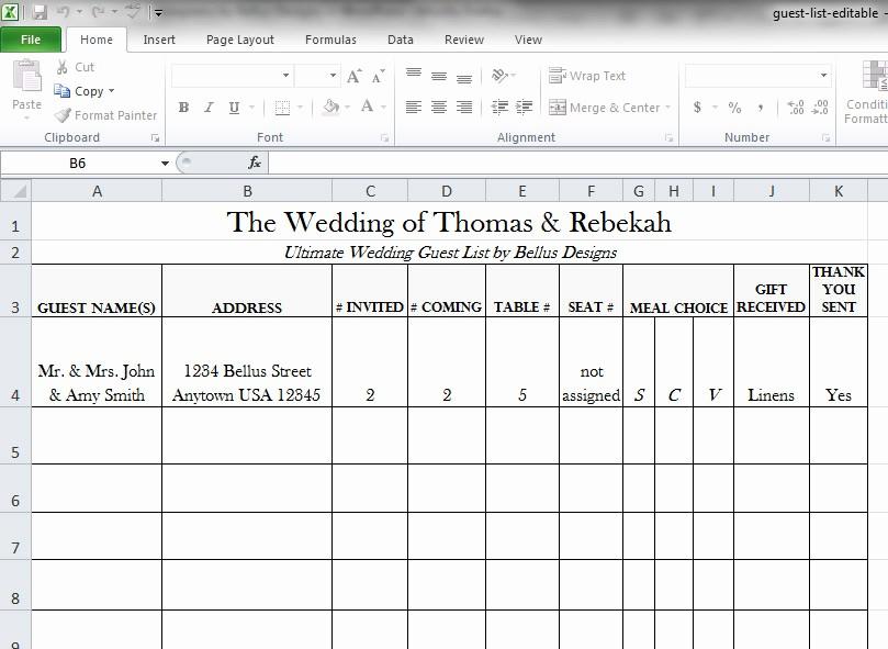Wedding Guest List Spreadsheet Template Lovely Free Downloadable Wedding Guest & Rsvp List Bellus Designs