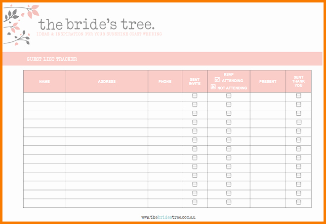 Wedding Guest List Spreadsheet Template Luxury 3 Wedding Guest List Printable