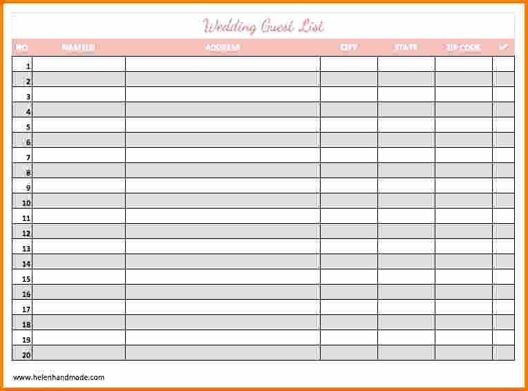 Wedding Guest List Spreadsheet Template Luxury 4 Printable Wedding Guest List