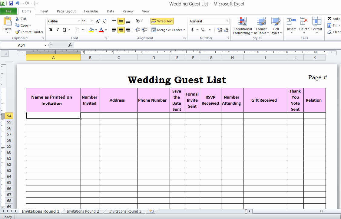 Wedding Guest List Spreadsheet Template Luxury Wedding Guest List Manager