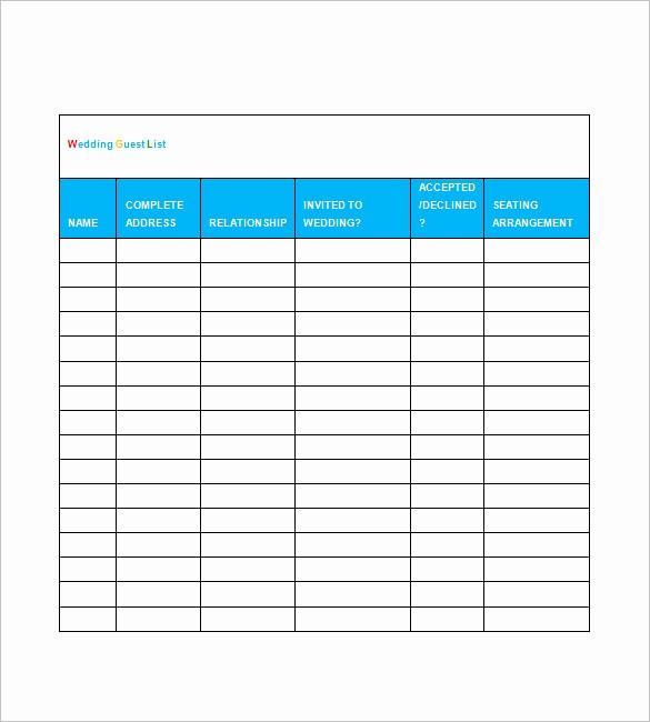 Wedding Guest List Spreadsheet Template New Wedding Guest List Template – 10 Free Sample Example