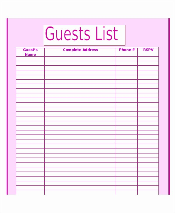 Wedding Guest List Spreadsheet Template Unique Wedding Guest List Template 9 Free Word Excel Pdf