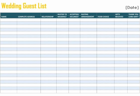 Wedding Guest List Worksheet Printable Awesome to Free Printable Wedding Guest List Template for Word and