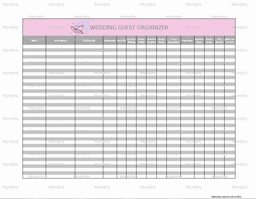 Wedding Guest List Worksheet Printable Beautiful 7 Best Of Printable Wedding Guest List organizer