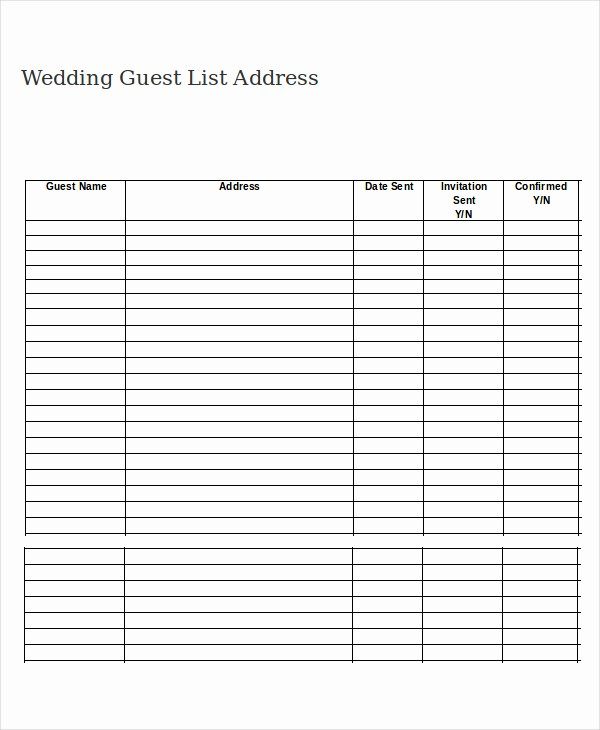 Wedding Guest List Worksheet Printable Beautiful Free Printable Wedding Guest List Template