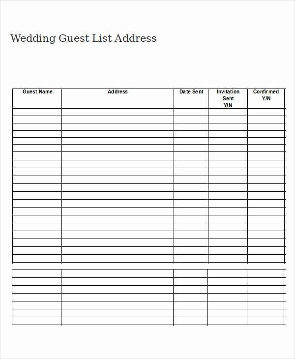 Wedding Guest List Worksheet Printable Beautiful Free Printable Wedding Guest List Template