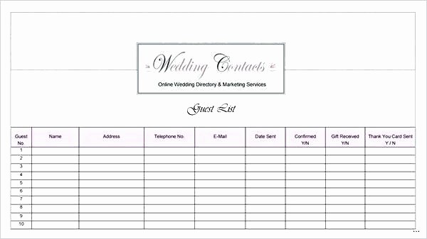 Wedding Guest List Worksheet Printable Beautiful Wedding Guest List Printable Template Grand Captures W