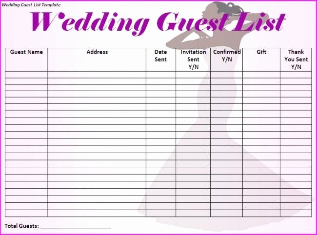 Wedding Guest List Worksheet Printable Beautiful Wedding Guest List Template I Would Make Just A Few More