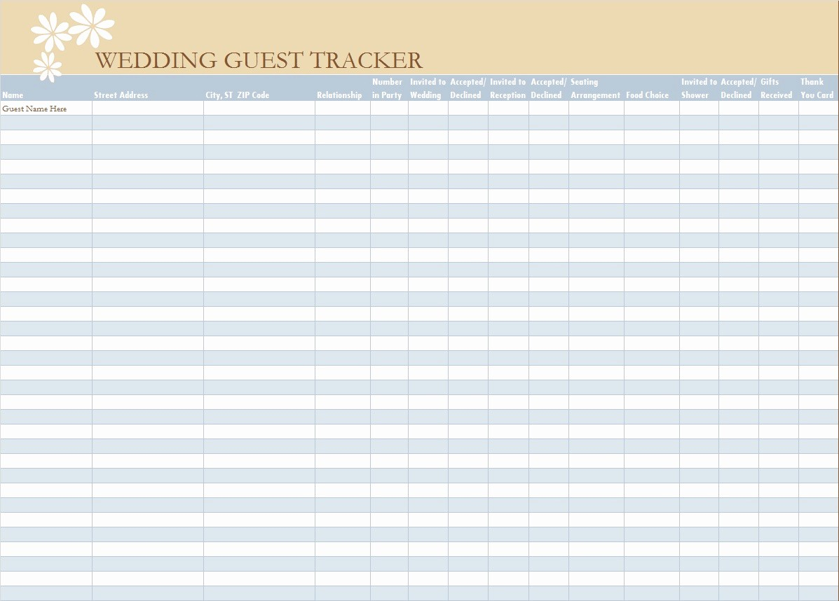 Wedding Guest List Worksheet Printable Elegant 30 Free Wedding Guest List Templates Templatehub