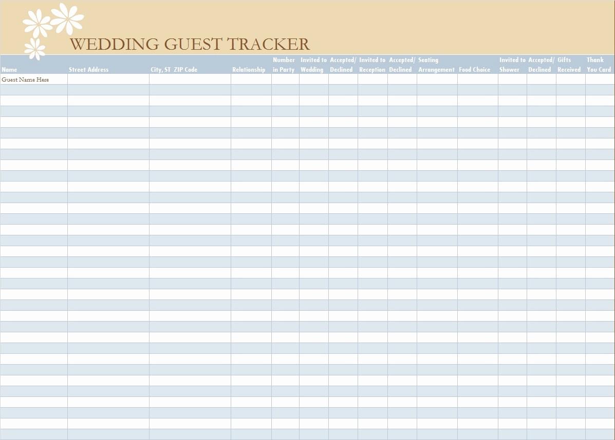 Wedding Guest List Worksheet Printable Elegant 30 Free Wedding Guest List Templates Templatehub