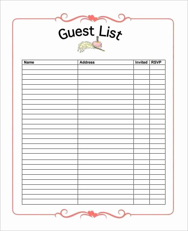 Wedding Guest List Worksheet Printable Fresh 10 Party Guest List Templates Word Excel Pdf formats