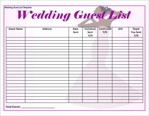 Wedding Guest List Worksheet Printable Inspirational 17 Wedding Guest List Templates – Pdf Word Excel