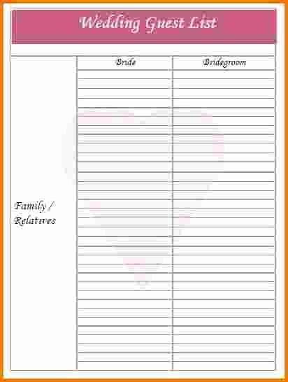 Wedding Guest List Worksheet Printable Inspirational 4 Printable Wedding Guest List Template