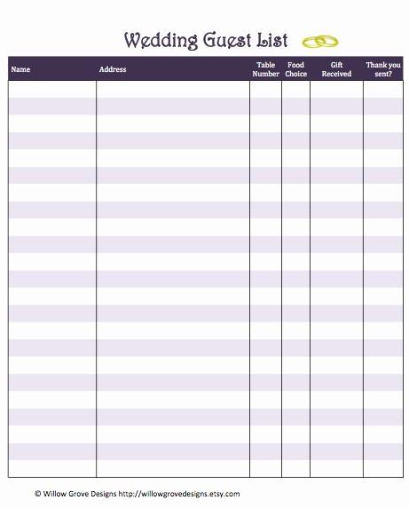 Wedding Guest List Worksheet Printable Inspirational 6 Best Of Wedding Guest List Printable Wedding