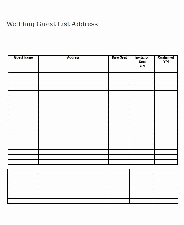 Wedding Guest List Worksheet Printable Lovely Printable Wedding Guest List