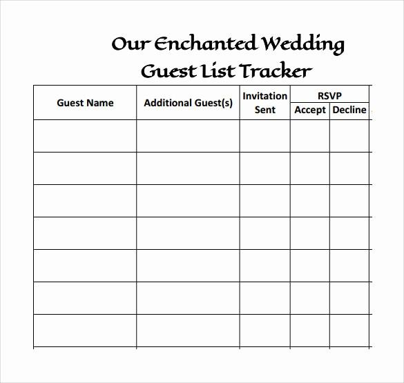 Wedding Guest List Worksheet Printable Lovely Printable Wedding Guest List