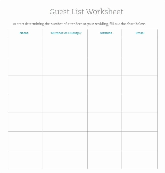 Wedding Guest List Worksheet Printable Luxury 10 Party Guest List Templates Word Excel Pdf formats