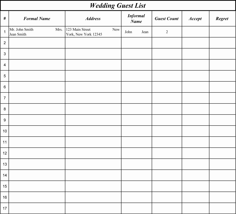 Wedding Guest List Worksheet Printable New 15 Best Of Wedding Guest List Worksheets