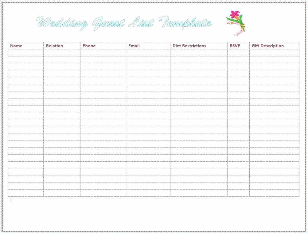 Wedding Guest List Worksheet Printable New Wedding Guest List Printable Pdf Free Bobs Rouge Like This