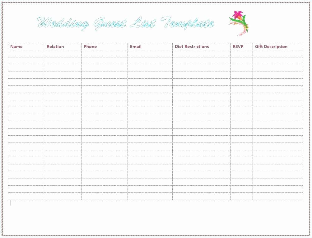 Wedding Guest List Worksheet Printable New Wedding Guest List Printable Pdf Free Bobs Rouge Like This