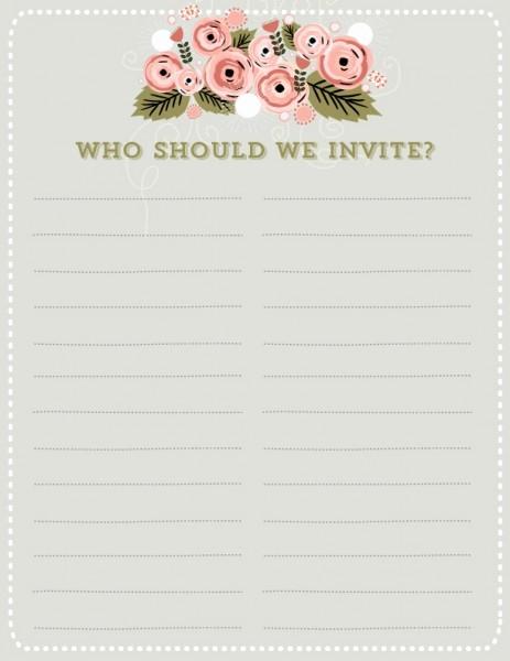 Wedding Guest List Worksheet Printable Unique 7 Guest List Templates Excel Pdf formats