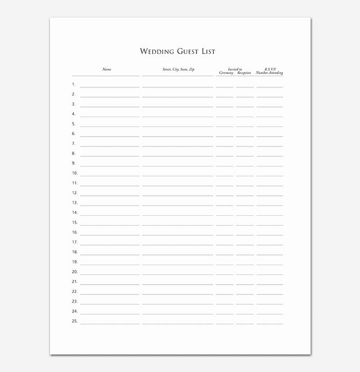 Wedding Guest List Worksheet Printable Unique Guest List Template 22 for Word Excel Pdf format