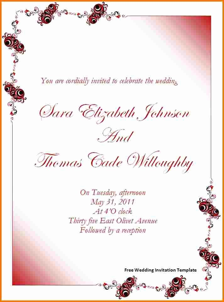 Wedding Invitation Template Word Free Awesome Free Wedding Invitation Templates for Word