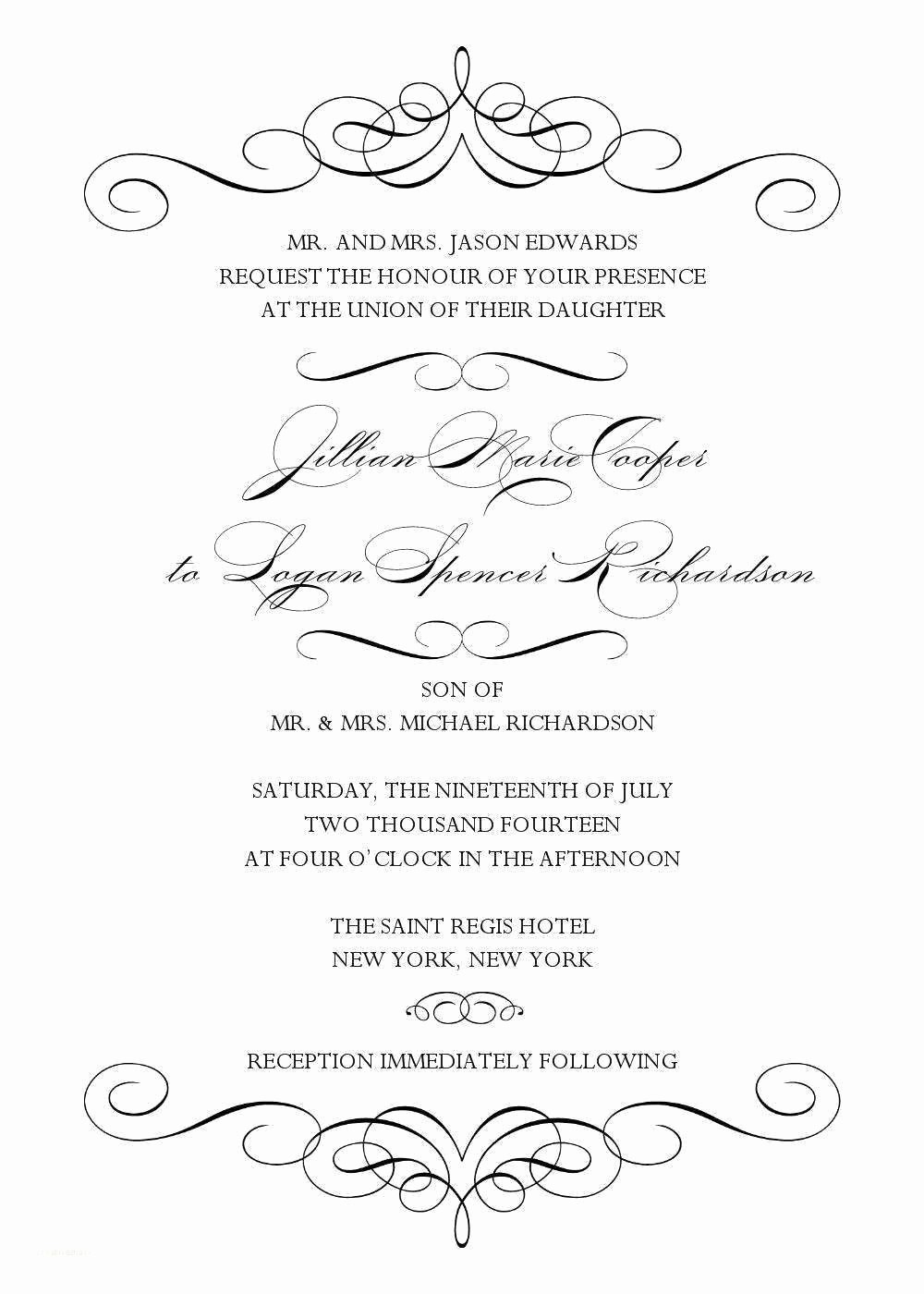 Wedding Invitation Template Word Free Beautiful Blank Wedding Invitation Templates for Microsoft Word