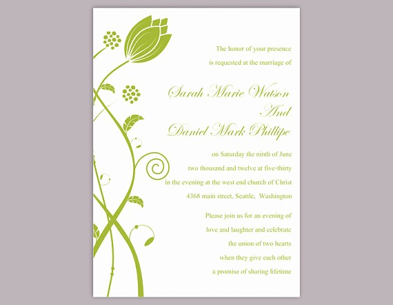 Wedding Invitation Template Word Free Beautiful Diy Wedding Invitation Template Editable Word File Instant