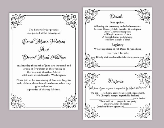 diy wedding invitation template set editable word file instant printable invitation black invitation elegant wedding invitation