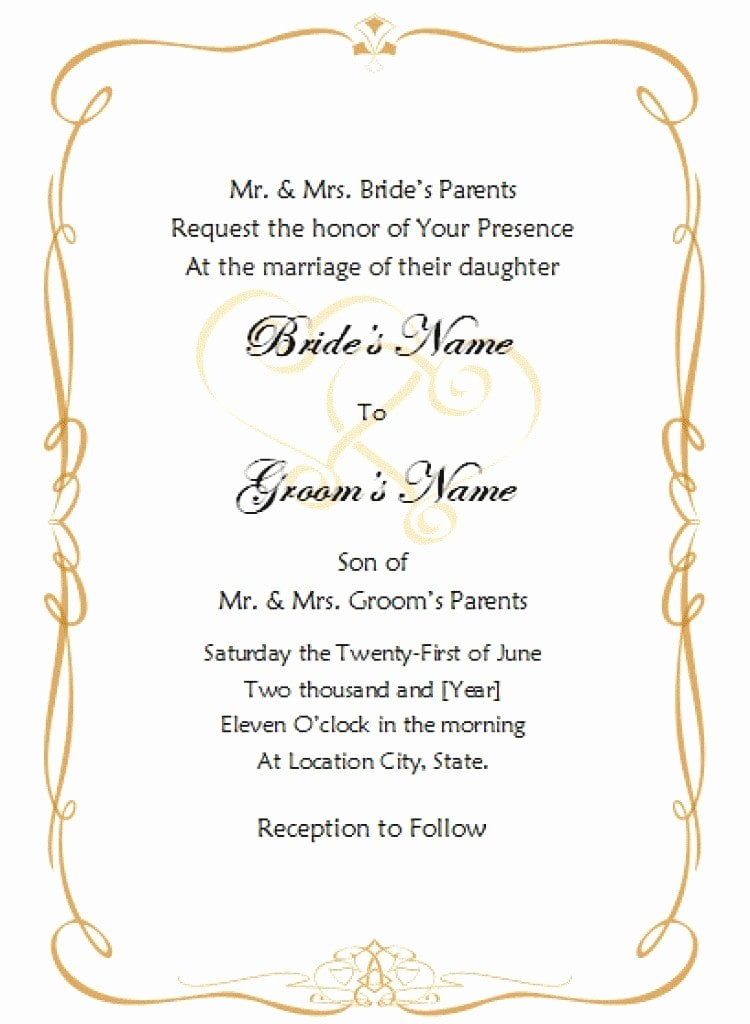 Wedding Invitation Template Word Free Lovely Invitation Template Word