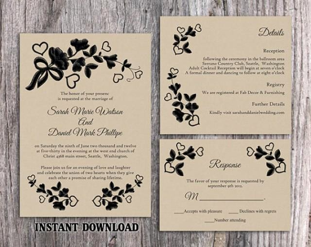 Wedding Invitation Template Word Free Luxury Diy Lace Wedding Invitation Template Set Editable Word