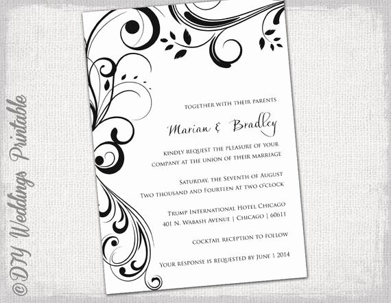 Wedding Invitation Template Word Free Luxury Wedding Invitation Templates Black and White