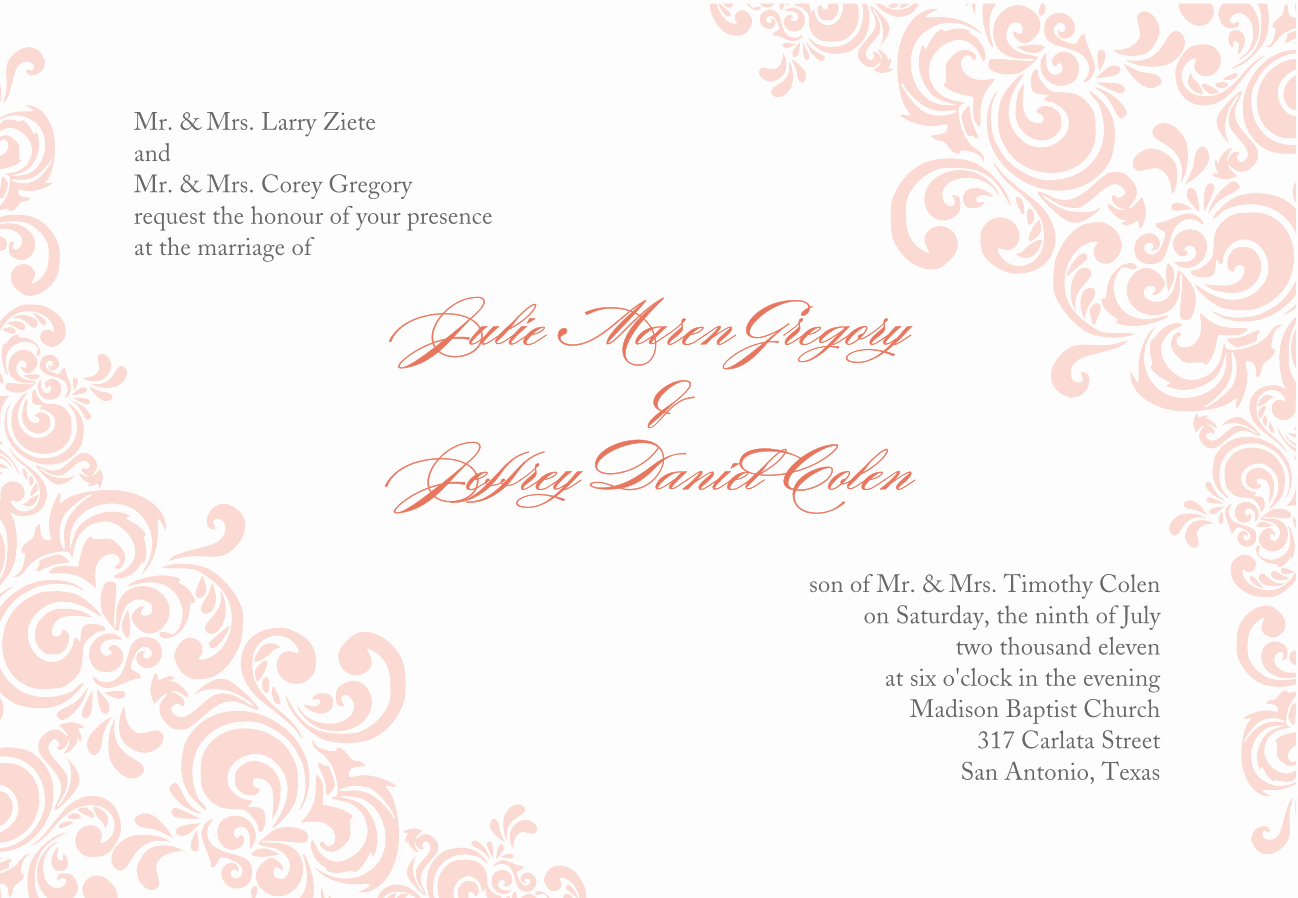 Wedding Invitation Template Word Free Unique Baby Pink Wedding Invitation Template Word Document with