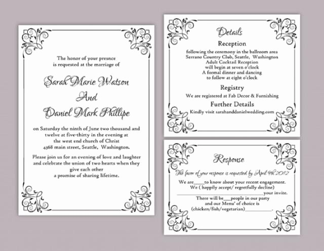 Wedding Invitation Template Word Free Unique Diy Wedding Invitation Template Set Editable Word File