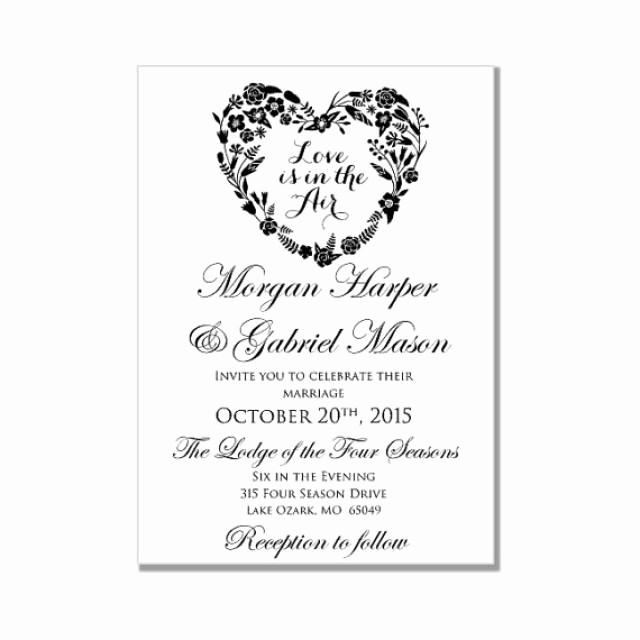 Wedding Invitations Templates Microsoft Word Beautiful Wedding Invitation Template Love is In the Air Heart