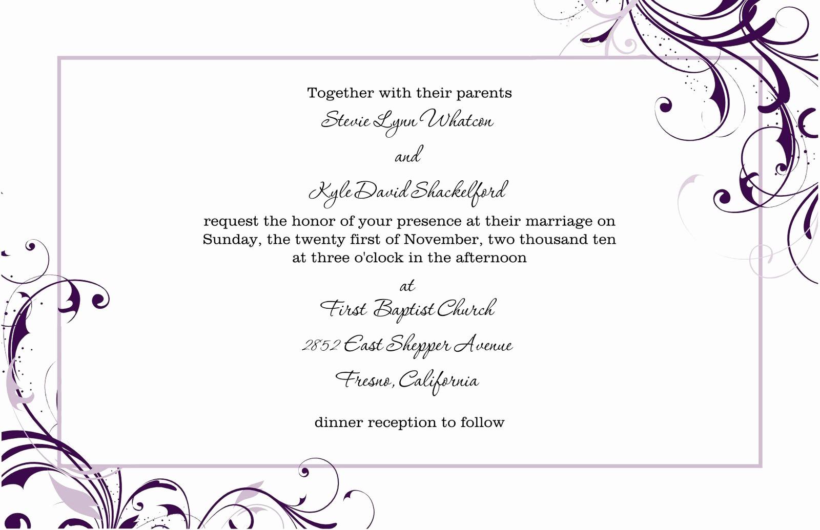 Wedding Invitations Templates Microsoft Word Elegant Free Blank Wedding Invitation Templates for Microsoft Word