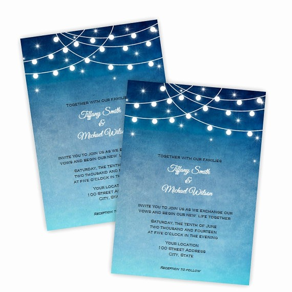 Wedding Invitations Templates Microsoft Word Elegant Wedding Invitation Lights at Night Diy Printable