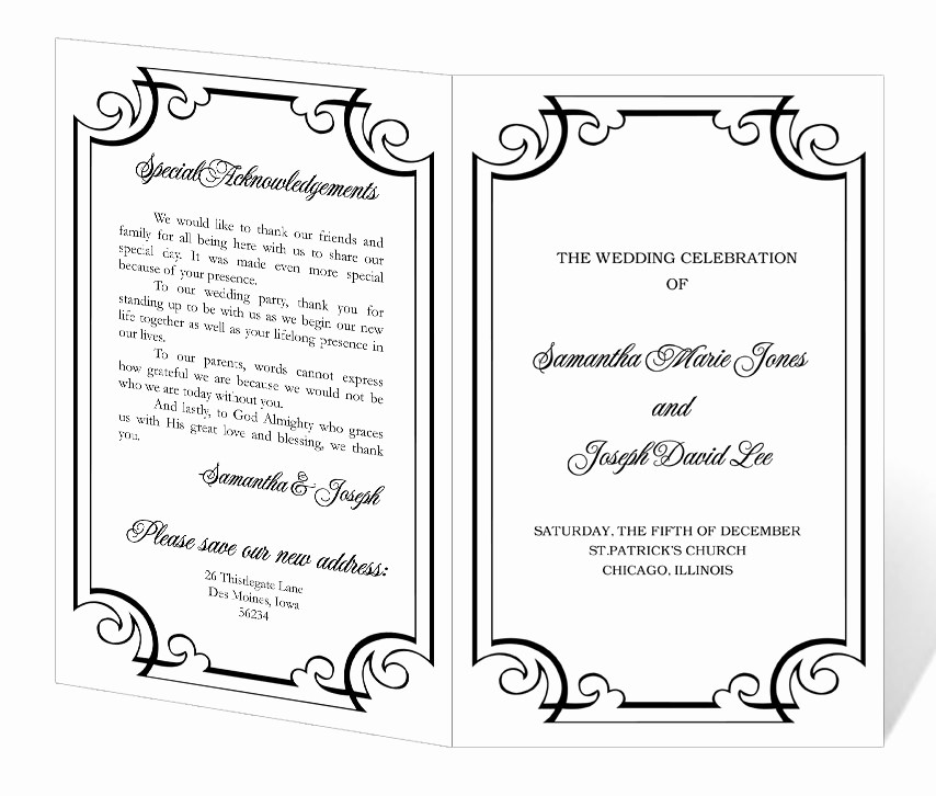 Wedding Invitations Templates Microsoft Word Elegant Wedding Program Template Word