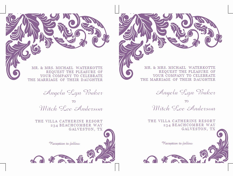 Wedding Invitations Templates Microsoft Word Fresh formatted 2 Page Wedding Invitation Templates Microsoft Word