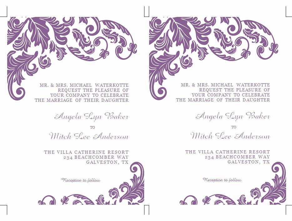 Wedding Invitations Templates Microsoft Word Fresh formatted 2 Page Wedding Invitation Templates Microsoft Word