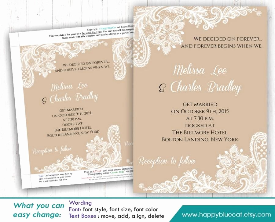 Wedding Invitations Templates Microsoft Word Lovely Diy Printable Wedding Invitation Template Instant