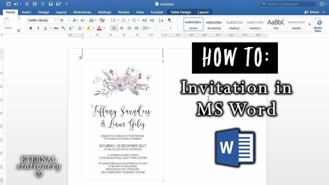 Wedding Invitations Templates Microsoft Word Lovely How to Make An Invitation In Microsoft Word