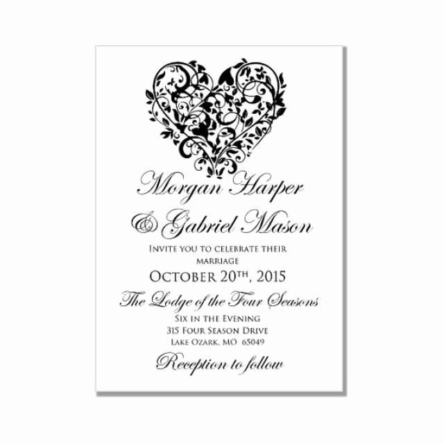 "Wedding Invitations Templates Microsoft Word Luxury Printable Wedding Invitation ""heart"" Diy Wedding"