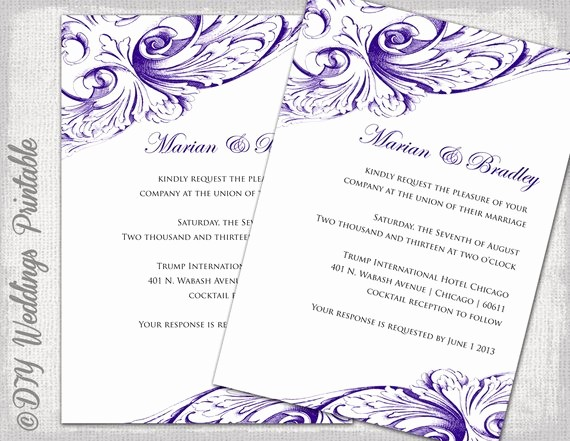 Wedding Invitations Templates Microsoft Word New Wedding Invitation Template Eggplant Diy Wedding Invitations