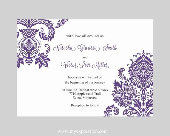 Wedding Invitations Templates Word Free Beautiful Wedding Invitation Template Purple Damask Instant Download