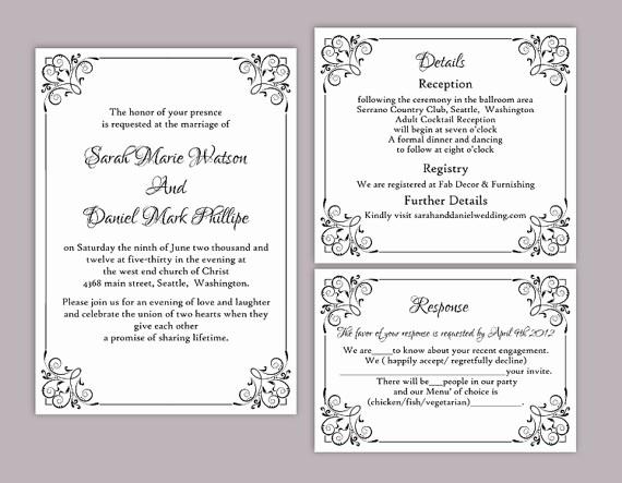 Wedding Invitations Templates Word Free Elegant Diy Wedding Invitation Template Set Editable Word File