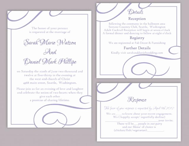 Wedding Invitations Templates Word Free Inspirational Diy Wedding Invitation Template Set Editable Word File